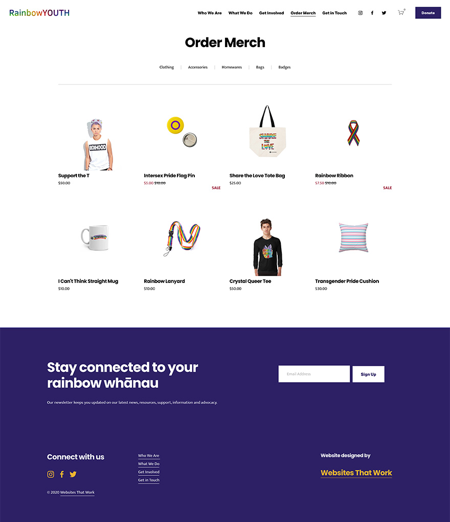 Rainbow Youth Not for Profit Organisation Online Store Design