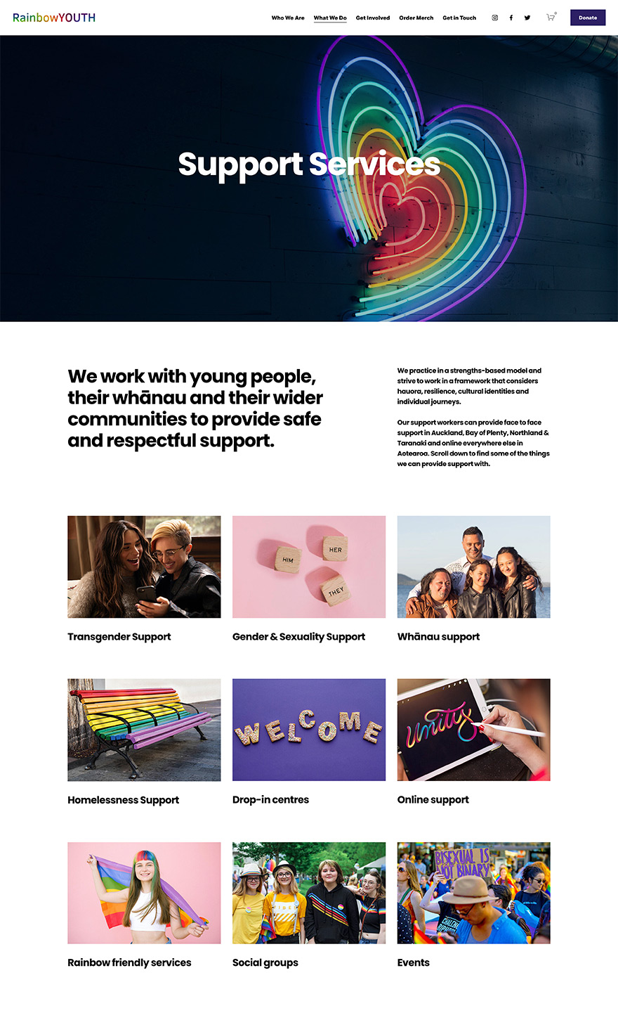 Rainbow Youth Not for Profit Organisation Website Design